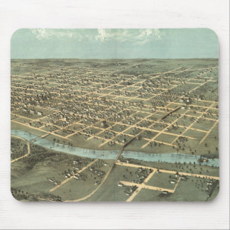 Vintage Pictorial Map of Iowa City (1868) Mousepads