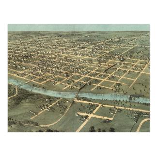 Vintage Pictorial Map of Iowa City (1868) Postcard