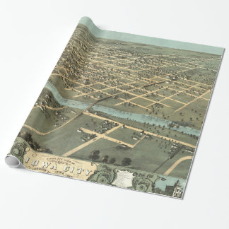 Vintage Pictorial Map of Iowa City (1868) Wrapping Paper