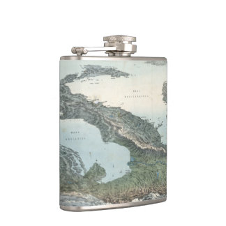 Vintage Pictorial Map of Italy (1853) Hip Flask