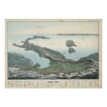 Vintage Pictorial Map of Italy (1853) Poster