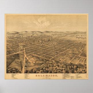 Vintage Pictorial Map of Kalamazoo Michigan (1874) Poster