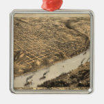 Vintage Pictorial Map of Kansas City (1869) Square Metal Christmas Ornament