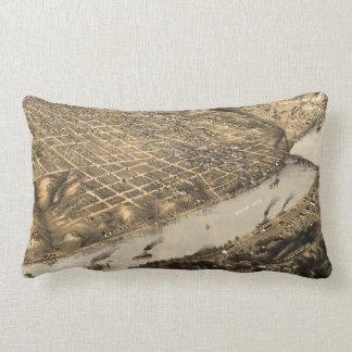 Vintage Pictorial Map of Kansas City (1869) Throw Pillow