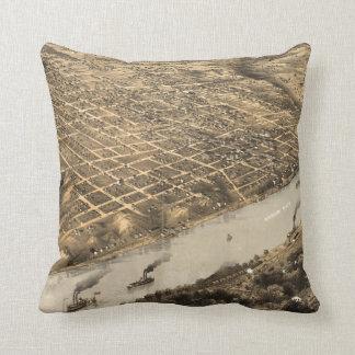 Vintage Pictorial Map of Kansas City (1869) Pillows
