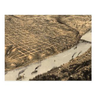 Vintage Pictorial Map of Kansas City (1869) Postcards