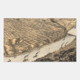 Vintage Pictorial Map of Kansas City (1869) Rectangular Sticker