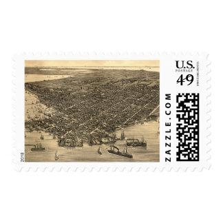 Vintage Pictorial Map of Key West FL (1884) Postage Stamp