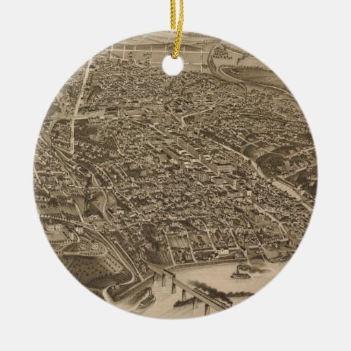 Vintage Pictorial Map of Knoxville (1886) Christmas Tree Ornaments