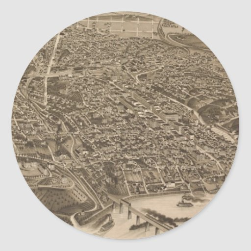 Vintage Pictorial Map of Knoxville (1886) Round Stickers