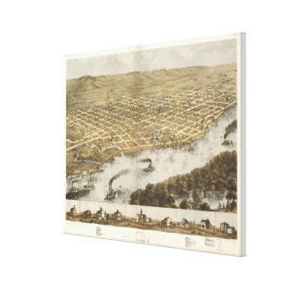 Vintage Pictorial Map of La Crosse WI (1867) Canvas Print