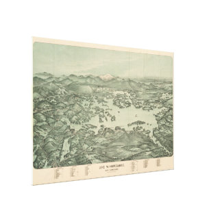 Vintage Pictorial Map of Lake Winnipesaukee (1903) Canvas Print