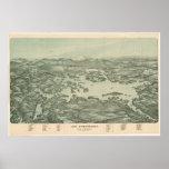 Vintage Pictorial Map of Lake Winnipesaukee (1903) Poster