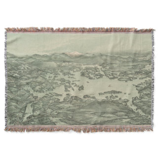 Vintage Pictorial Map of Lake Winnipesaukee (1903) Throw