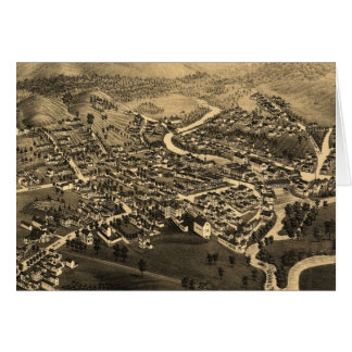 Vintage Pictorial Map of Lancaster NH (1883) Greeting Card