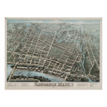 Vintage Pictorial Map of Lawrence MA (1876) Poster