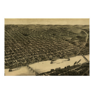 Vintage Pictorial Map of Little Rock (1887) Poster