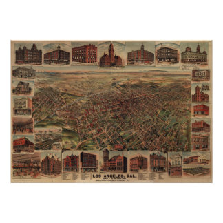 Vintage Pictorial Map of Los Angeles (1891) Poster