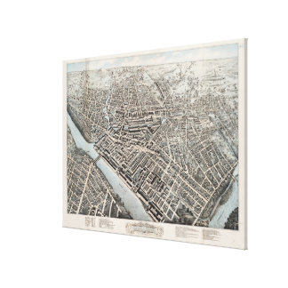Vintage Pictorial Map of Lowell MA (1876) Canvas Print
