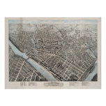 Vintage Pictorial Map of Lowell MA (1876) Poster
