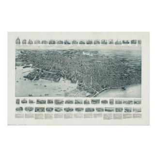 Vintage Pictorial Map of Lynn Massachusetts (1916) Poster