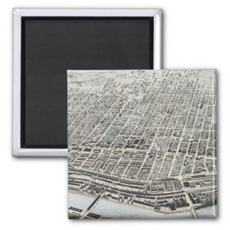 Vintage Pictorial Map of Manchester NH (1876) 2 Inch Square Magnet
