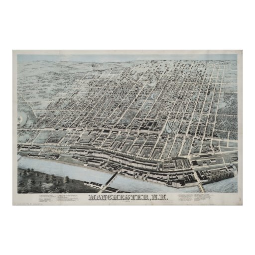 Vintage Pictorial Map of Manchester NH (1876) Posters