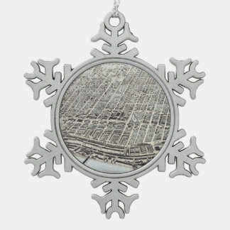 Vintage Pictorial Map of Manchester NH (1876) Snowflake Pewter Christmas Ornament