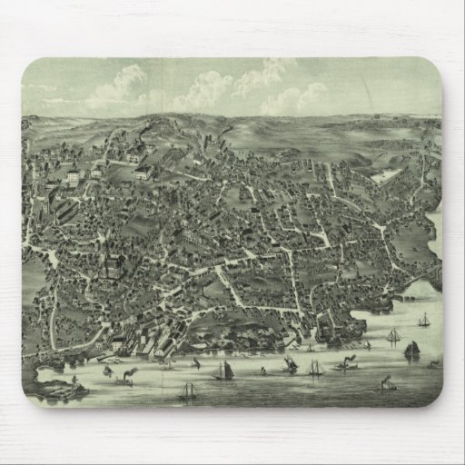 Vintage Pictorial Map of Marblehead MA (1882) Mouse Pads