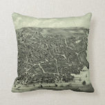 Vintage Pictorial Map of Marblehead MA (1882) Throw Pillow