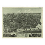 Vintage Pictorial Map of Marblehead MA (1882) Posters