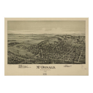 Vintage Pictorial Map of McDonald PA (1897) Poster