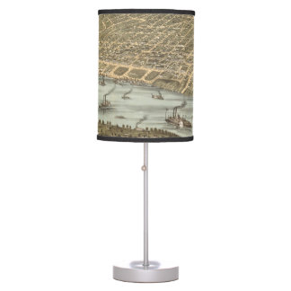 Vintage Pictorial Map of Memphis Tennessee (1870) Table Lamp