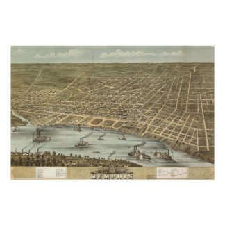 Vintage Pictorial Map of Memphis Tennessee (1870) Poster