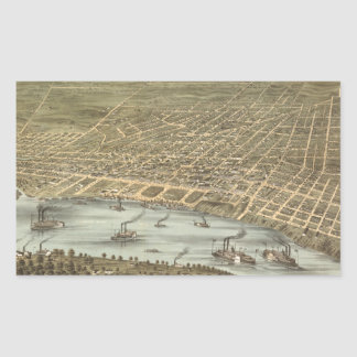 Vintage Pictorial Map of Memphis Tennessee (1870) Rectangular Sticker