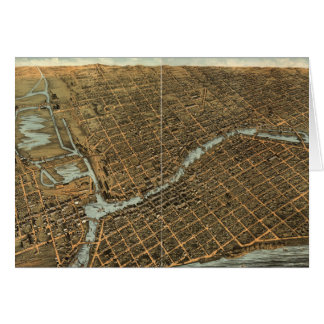 Vintage Pictorial Map of Milwaukee (1872) Greeting Card