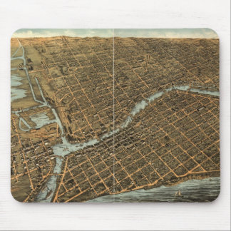 Vintage Pictorial Map of Milwaukee (1872) Mouse Pad