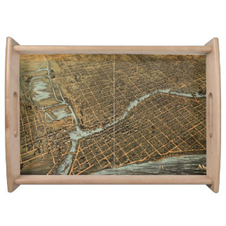 Vintage Pictorial Map of Milwaukee (1872) Serving Platter