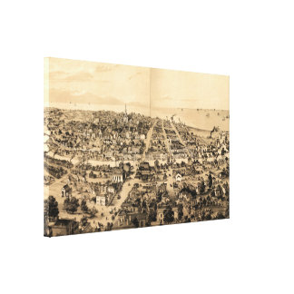 Vintage Pictorial Map of Milwaukee WI (1854) Canvas Print