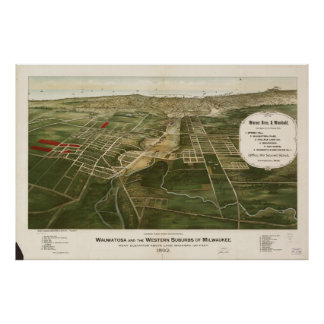 Vintage Pictorial Map of Milwaukee WI (1892) Poster