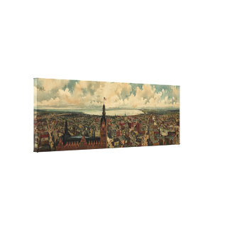 Vintage Pictorial Map of Milwaukee WI (1898) Gallery Wrapped Canvas