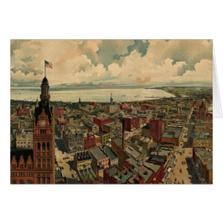 Vintage Pictorial Map of Milwaukee WI (1898) Cards