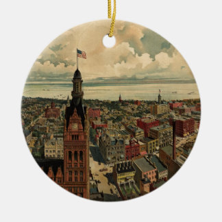 Vintage Pictorial Map of Milwaukee WI (1898) Ceramic Ornament