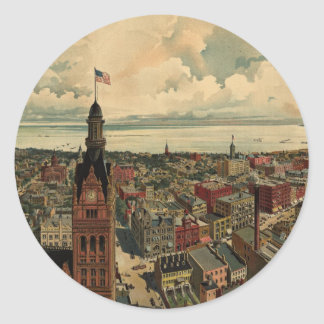 Vintage Pictorial Map of Milwaukee WI (1898) Classic Round Sticker