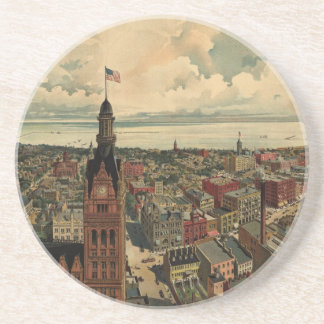 Vintage Pictorial Map of Milwaukee WI (1898) Drink Coasters