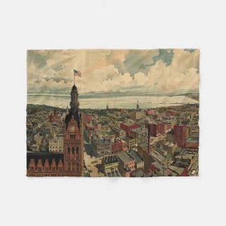 Vintage Pictorial Map of Milwaukee WI (1898) Fleece Blanket