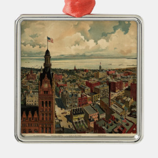 Vintage Pictorial Map of Milwaukee WI (1898) Metal Ornament