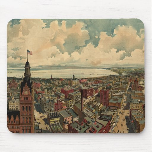Vintage Pictorial Map of Milwaukee WI (1898) Mouse Pad