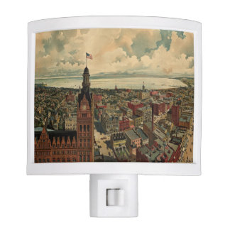 Vintage Pictorial Map of Milwaukee WI (1898) Night Light