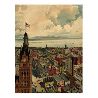 Vintage Pictorial Map of Milwaukee WI (1898) Postcard